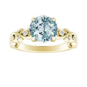LILA  Aquamarine  Engagement  Ring  In  14K  Yellow  Gold  With  1.00  Carat  Round  Stone