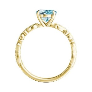 LILA  Aquamarine  Wedding  Ring  Set  In  14K  Yellow  Gold  With  1.00  Carat  Round  Stone
