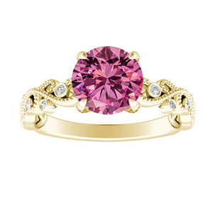 LILA  Pink  Sapphire  Engagement  Ring  In  14K  Yellow  Gold  With  0.50  Carat  Round  Stone
