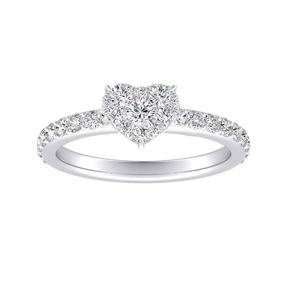 ELLA Classic Diamond Engagement Ring In 14K White Gold With Heart Diamond In H-I SI1-SI2 Quality