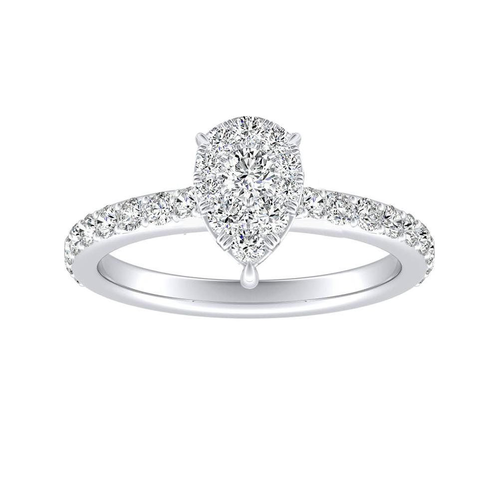 ELLA Classic Diamond Engagement Ring In 14K White Gold With Pear Diamond In H-I SI1-SI2 Quality
