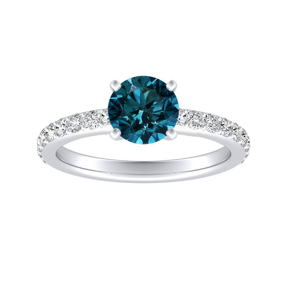 ELLA Classic Blue Diamond Engagement Ring In 14K White Gold With 0.50 Carat Round Diamond