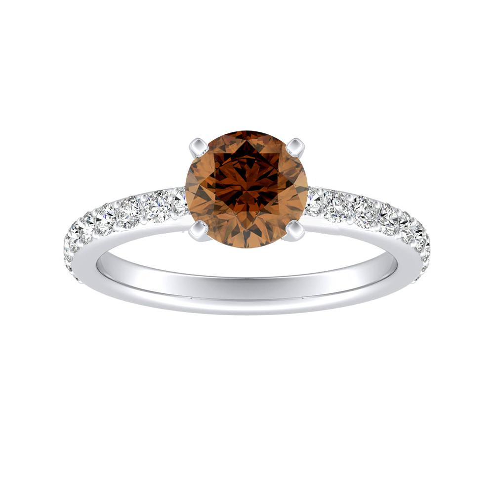 ELLA Classic Brown Diamond Engagement Ring In 14K White Gold With 0.50 Carat Round Diamond