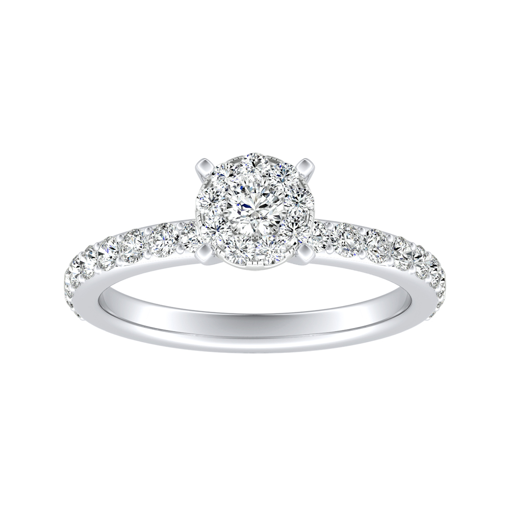 ELLA Classic Diamond Engagement Ring In 14K White Gold With Round Diamond In H-I SI1-SI2 Quality