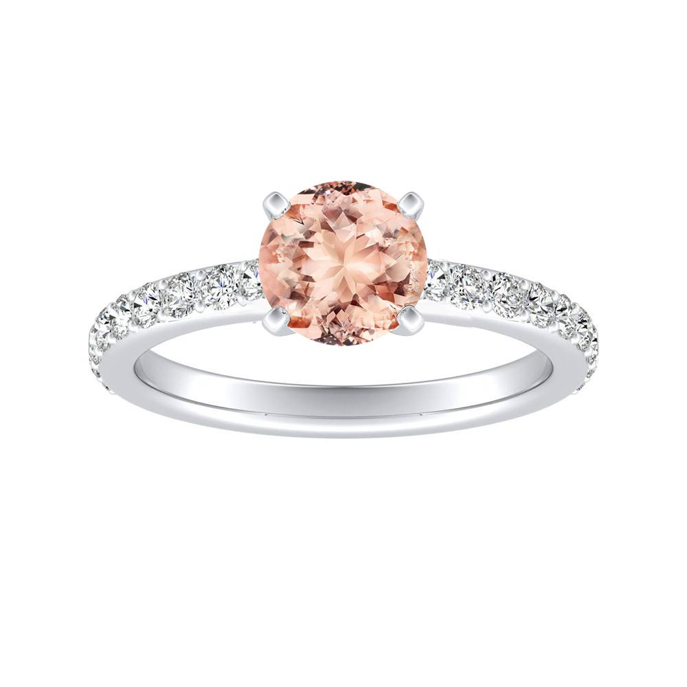 ELLA Classic Morganite Engagement Ring In 14K White Gold With 1.00 Carat Round Stone