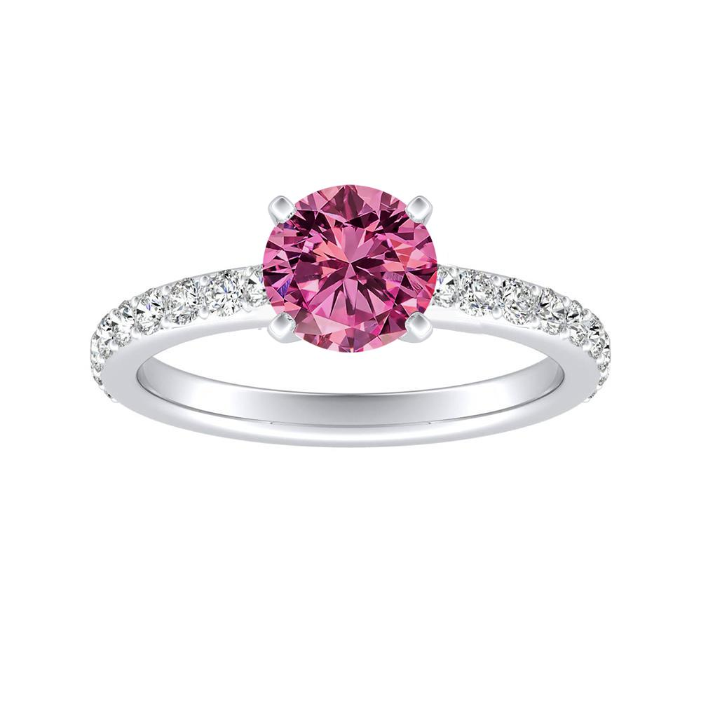 ELLA Classic Pink Sapphire Engagement Ring In 14K White Gold With 0.30 Carat Round Stone