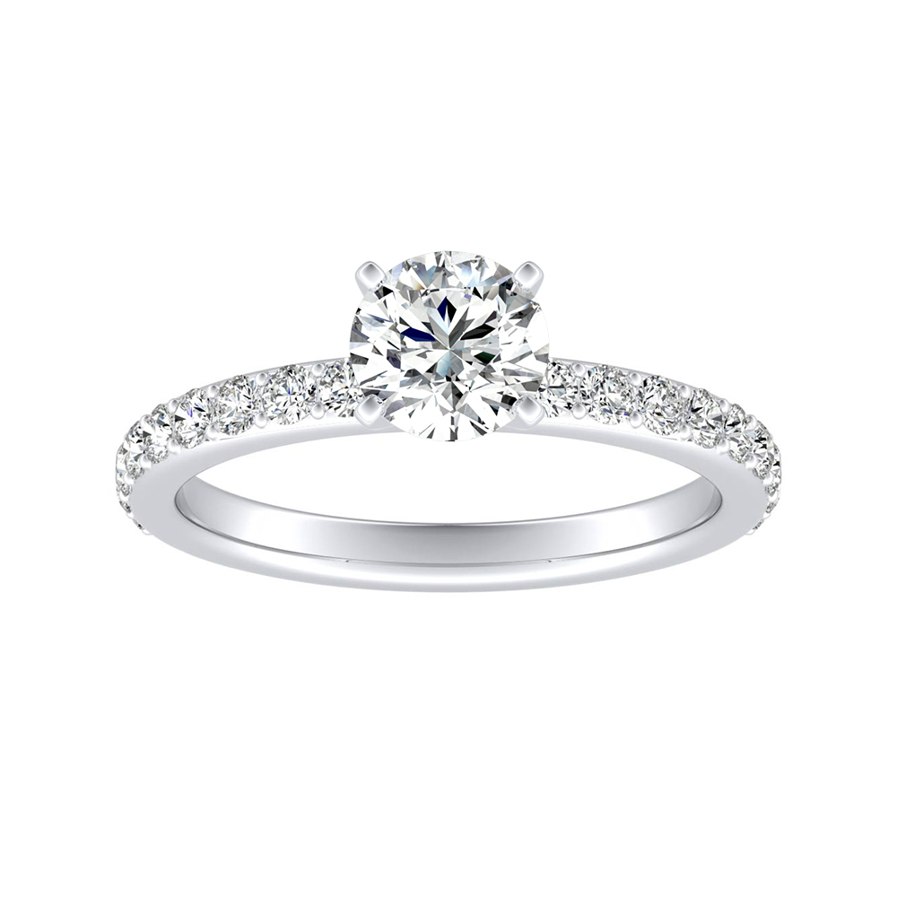 ELLA Classic Moissanite Engagement Ring In 14K White Gold With 0.50 Carat Round Stone