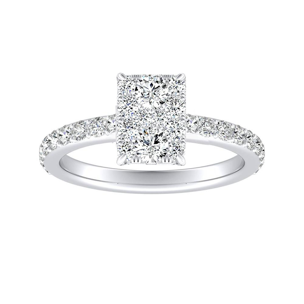 ELLA Classic Diamond Engagement Ring In 14K White Gold With Radiant Diamond In H-I SI1-SI2 Quality