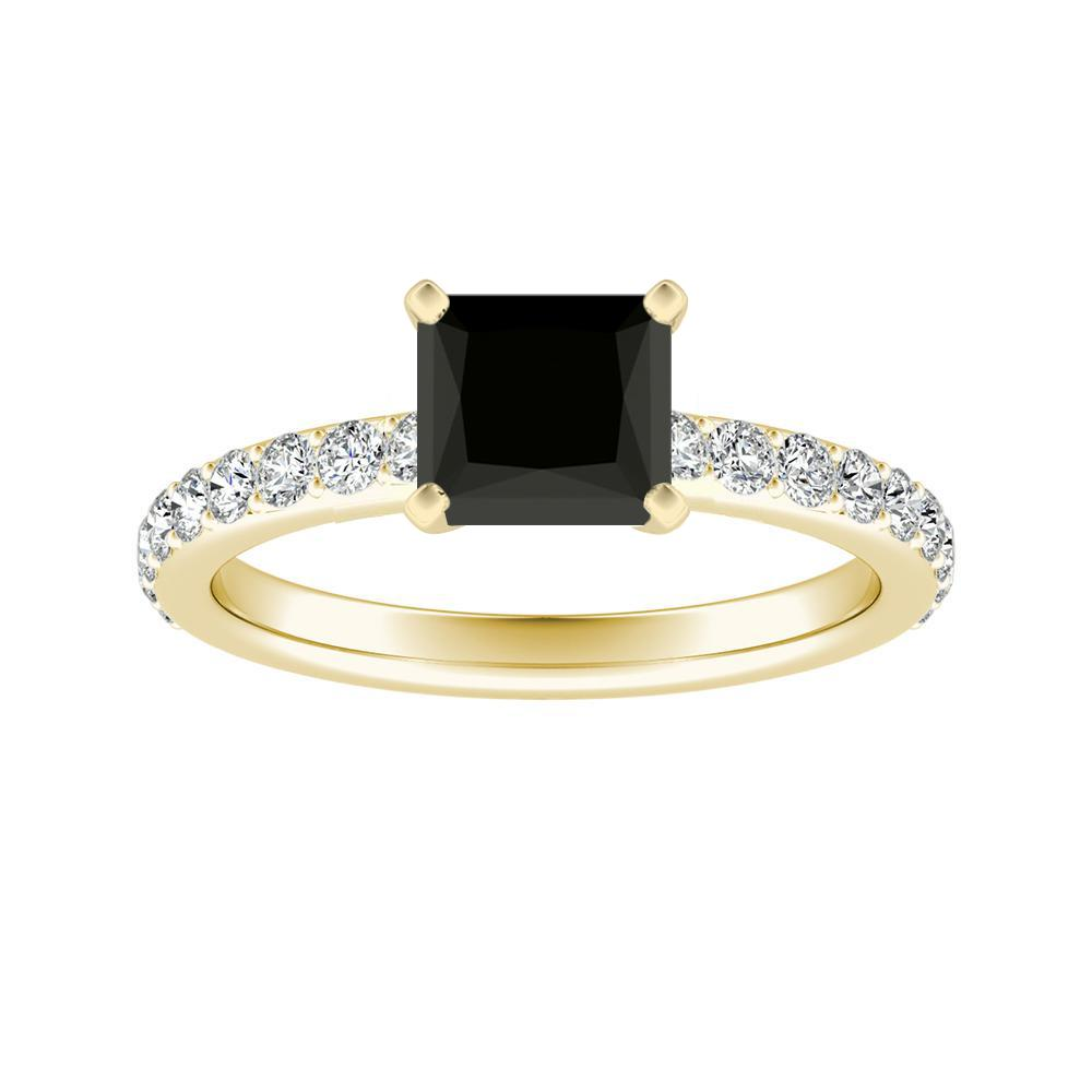 ELLA Classic Black Diamond Engagement Ring In 14K Yellow Gold With 1.00 Carat Princess Diamond