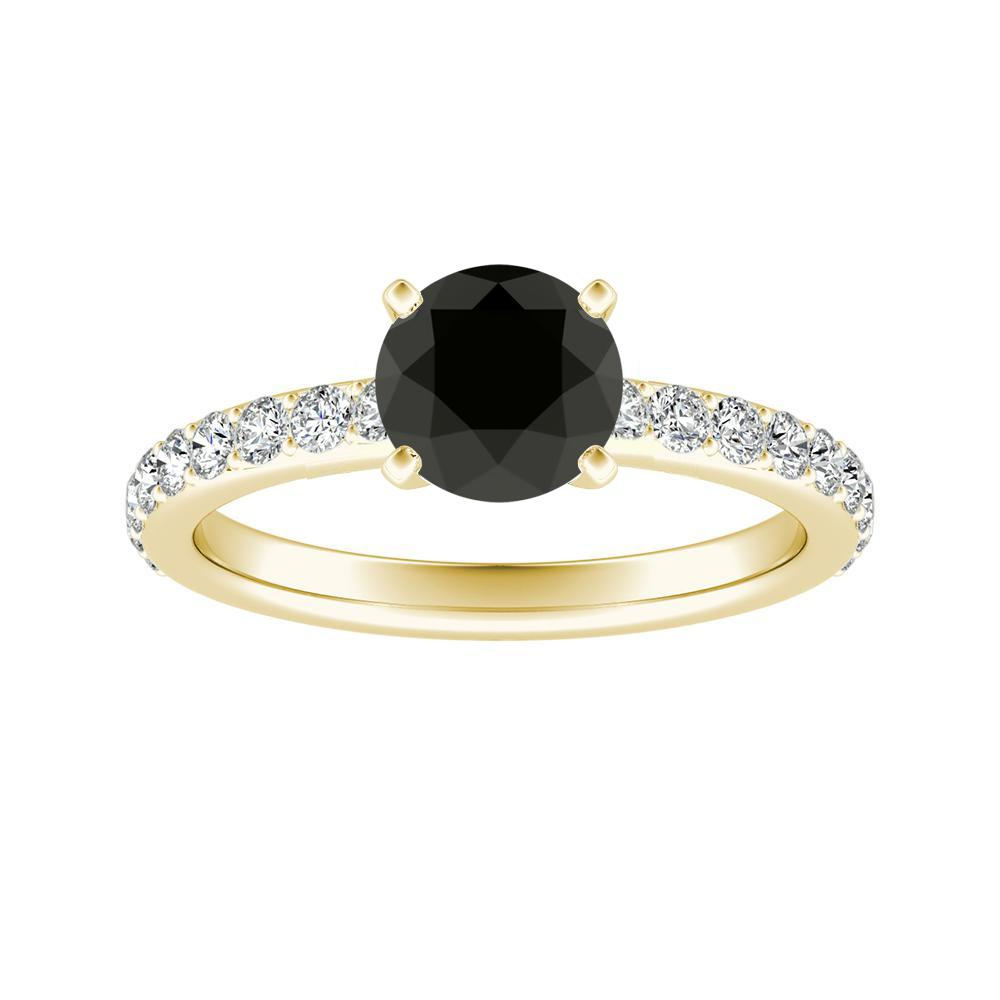 ELLA Classic Black Diamond Engagement Ring In 14K Yellow Gold With 1.00 Carat Round Diamond