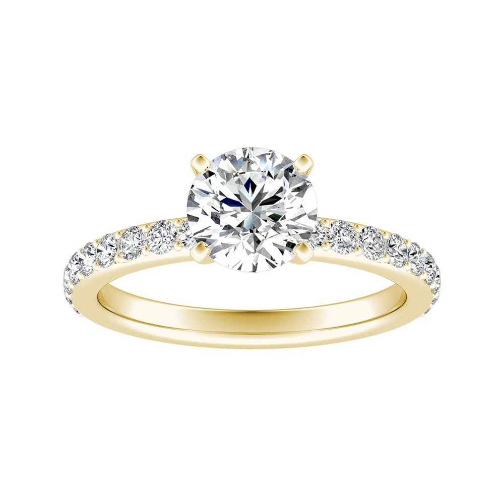 ELLA Classic Moissanite Engagement Ring In 14K Yellow Gold With 0.50 Carat Round Stone