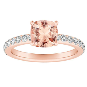 ELLA  Classic  Morganite  Engagement  Ring  In  14K  Rose  Gold  With  1.00  Carat  Cushion  Stone