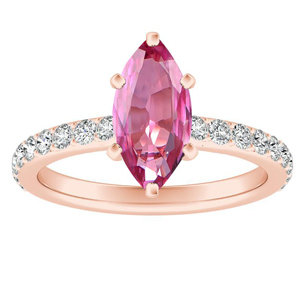 ELLA  Classic  Pink  Sapphire  Engagement  Ring  In  14K  Rose  Gold  With  0.50  Carat  Marquise  Stone