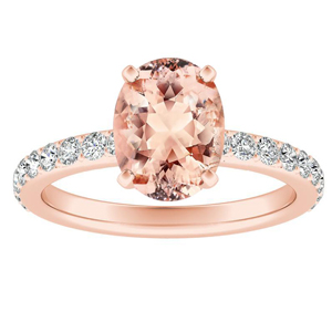 ELLA  Classic  Morganite  Engagement  Ring  In  14K  Rose  Gold  With  1.00  Carat  Oval  Stone
