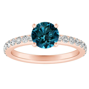 ELLA  Classic  Blue  Diamond  Engagement  Ring  In  14K  Rose  Gold  With  0.50  Carat  Round  Diamond
