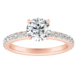 ELLA  Classic  Moissanite  Engagement  Ring  In  14K  Rose  Gold  With  0.50  Carat  Round  Stone