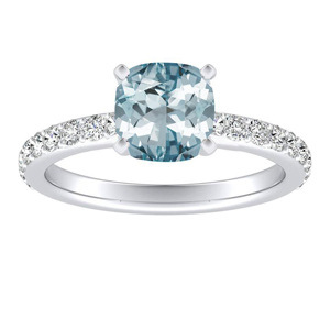ELLA  Classic  Aquamarine  Engagement  Ring  In  14K  White  Gold  With  1.00  Carat  Cushion  Stone