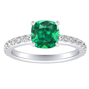 ELLA  Classic  Green  Emerald  Engagement  Ring  In  14K  White  Gold  With  0.50  Carat  Cushion  Stone