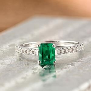 ELLA  Classic  Green  Emerald  Engagement  Ring  In  14K  White  Gold  With  0.50  Carat  Emerald  Stone