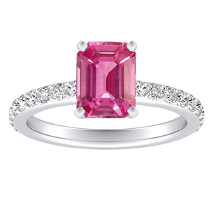 ELLA  Classic  Pink  Sapphire  Engagement  Ring  In  14K  White  Gold  With  0.50  Carat  Emerald  Stone