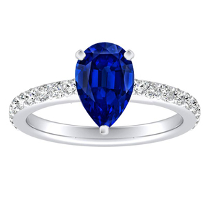 ELLA  Classic  Blue  Sapphire  Engagement  Ring  In  14K  White  Gold  With  0.50  Carat  Pear  Stone