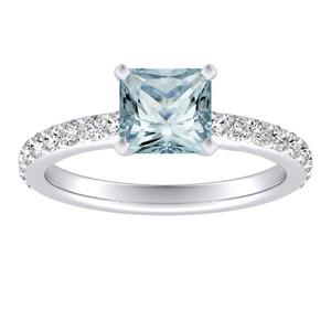 ELLA  Classic  Aquamarine  Engagement  Ring  In  14K  White  Gold  With  1.00  Carat  Princess  Stone