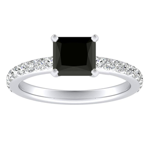 ELLA  Classic  Black  Diamond  Engagement  Ring  In  14K  White  Gold  With  1.00  Carat  Princess  Diamond
