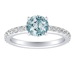 ELLA  Classic  Aquamarine  Engagement  Ring  In  14K  White  Gold  With  1.00  Carat  Round  Stone