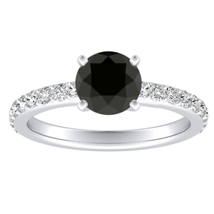 ELLA  Classic  Black  Diamond  Engagement  Ring  In  14K  White  Gold  With  1.00  Carat  Round  Diamond