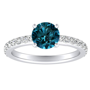 ELLA  Classic  Blue  Diamond  Engagement  Ring  In  14K  White  Gold  With  0.50  Carat  Round  Diamond