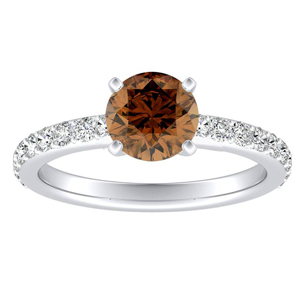 ELLA Classic Brown Diamond Engagement Ring In 14K White Gold With 0.30 Carat Round Diamond
