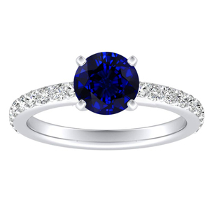 ELLA Classic Blue Sapphire Engagement Ring In 14K White Gold With 0.30 Carat Round Stone