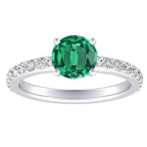 ELLA Classic Green Emerald Engagement Ring In 14K White Gold With 0.30 Carat Round Stone