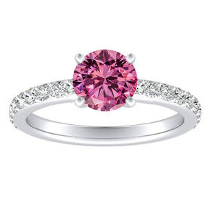 ELLA  Classic  Pink  Sapphire  Engagement  Ring  In  14K  White  Gold  With  0.50  Carat  Round  Stone