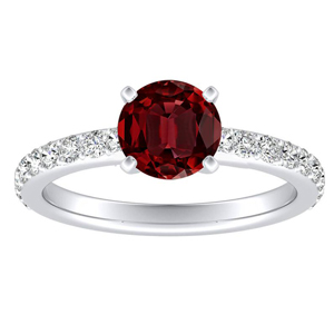 ELLA Classic Ruby Engagement Ring In 14K White Gold With 0.30 Carat Round Stone