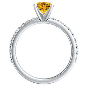 ELLA  Classic  Yellow  Diamond  Engagement  Ring  In  14K  White  Gold  With  0.50  Carat  Round  Diamond
