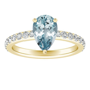 ELLA  Classic  Aquamarine  Engagement  Ring  In  14K  Yellow  Gold  With  1.00  Carat  Pear  Stone