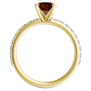 ELLA  Classic  Brown  Diamond  Engagement  Ring  In  14K  Yellow  Gold  With  0.50  Carat  Round  Diamond