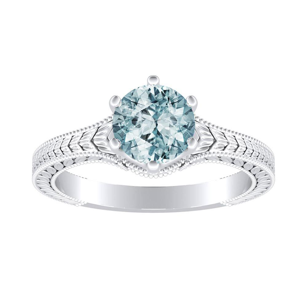 REAGAN Solitaire Aquamarine Engagement Ring In 14K White Gold With 1.00 Carat Round Stone