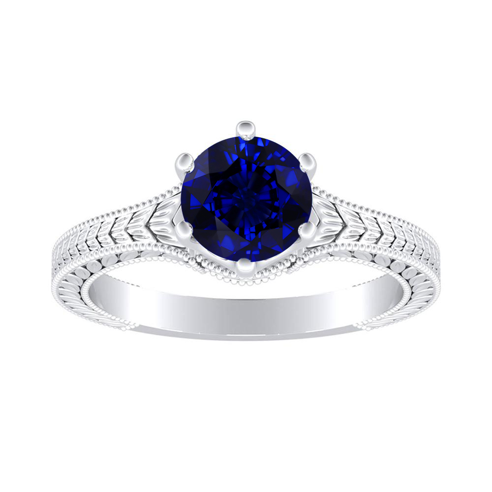 REAGAN Solitaire Blue Sapphire Engagement Ring In 14K White Gold With 0.30 Carat Round Stone