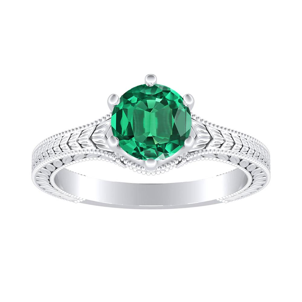 REAGAN Solitaire Green Emerald Engagement Ring In 14K White Gold With 0.30 Carat Round Stone