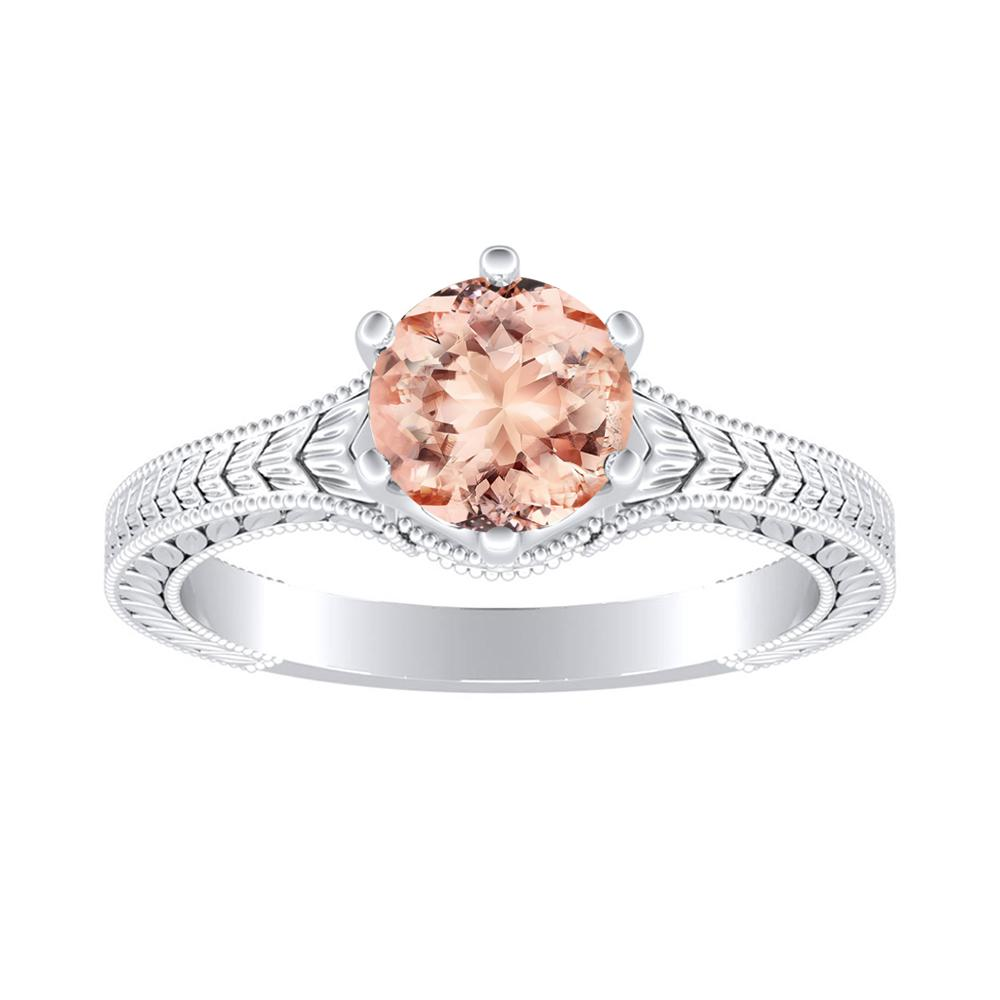 REAGAN Solitaire Morganite Engagement Ring In 14K White Gold With 1.00 Carat Round Stone