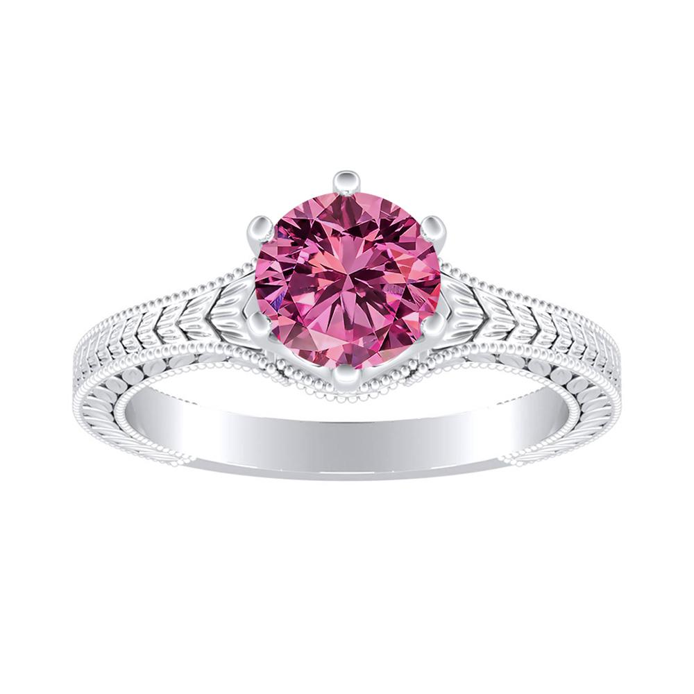 REAGAN Solitaire Pink Sapphire Engagement Ring In 14K White Gold With 0.50 Carat Round Stone