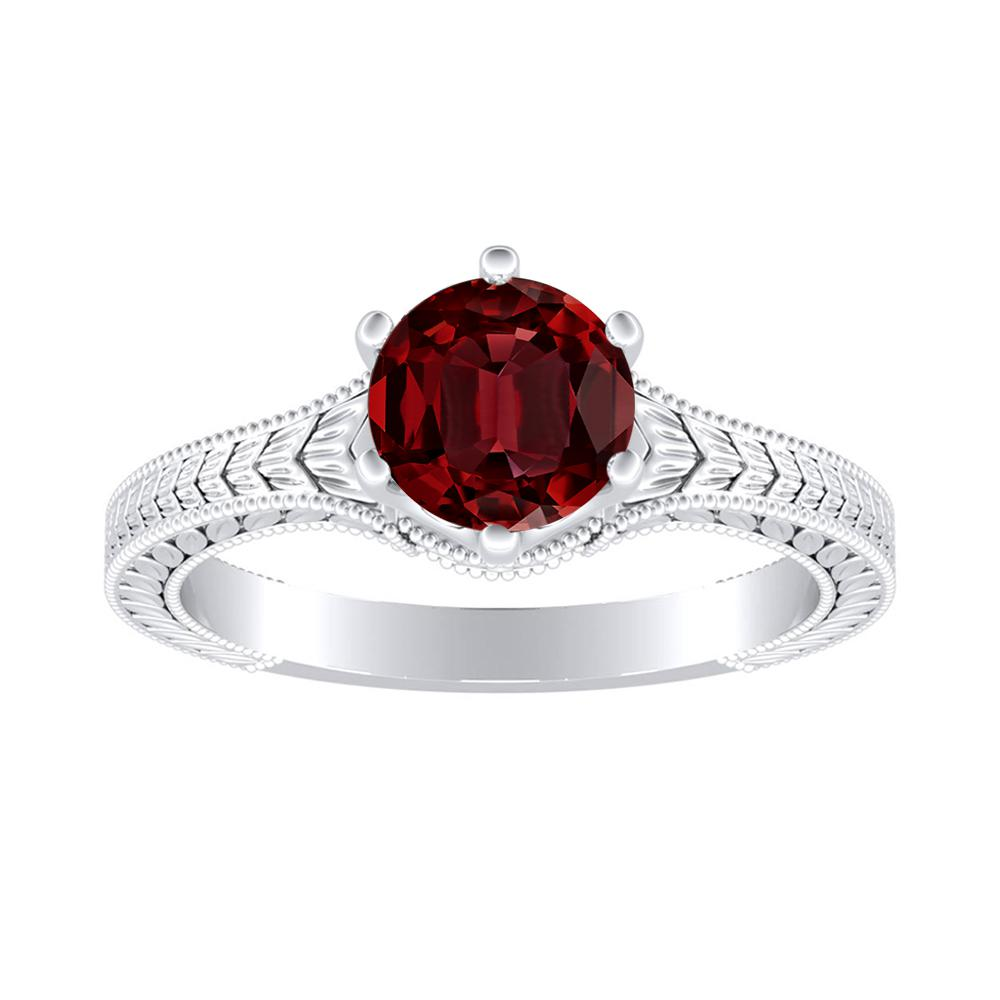 REAGAN Solitaire Ruby Engagement Ring In Platinum With 0.50 Carat Round Stone