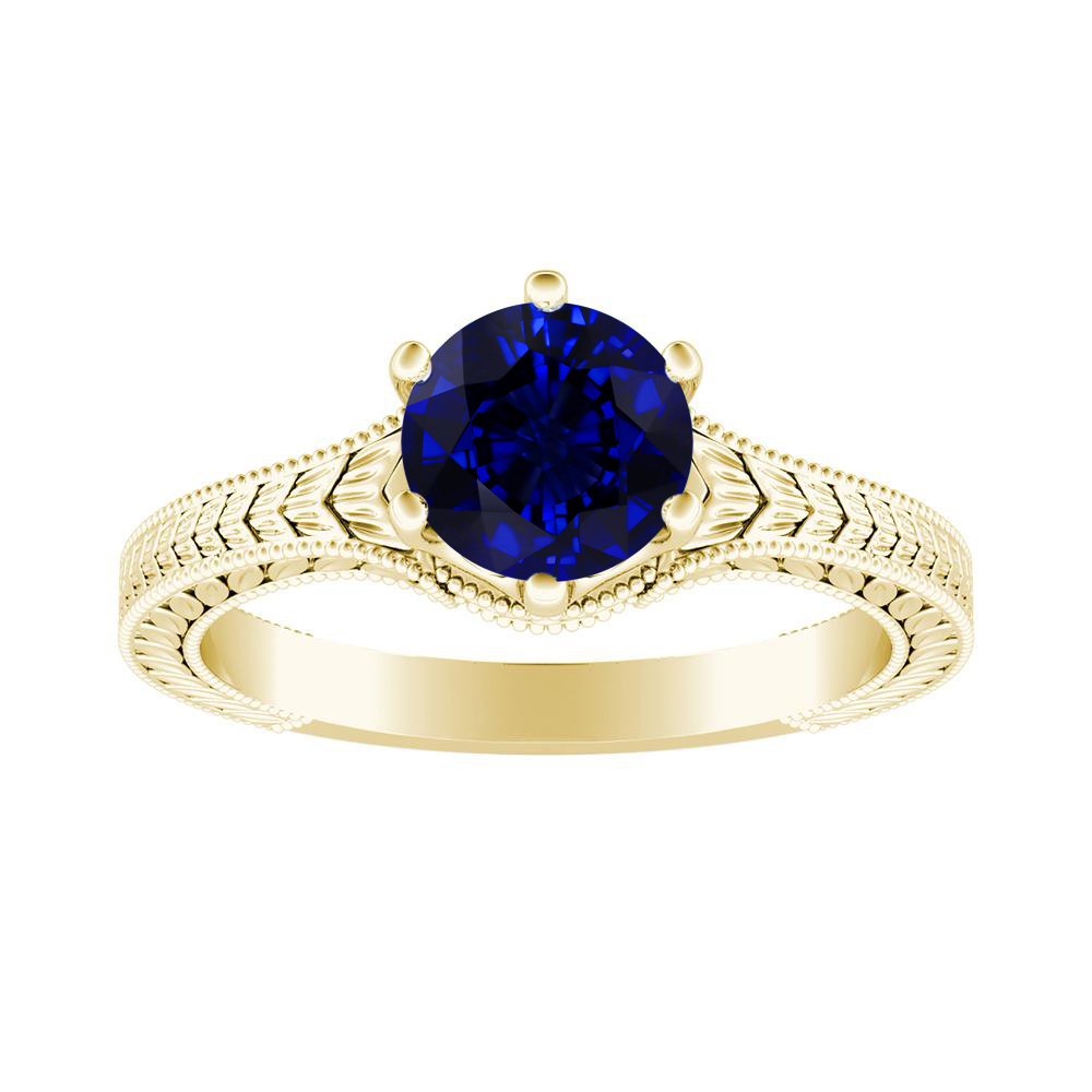 REAGAN Solitaire Blue Sapphire Engagement Ring In 14K Yellow Gold With 0.50 Carat Round Stone
