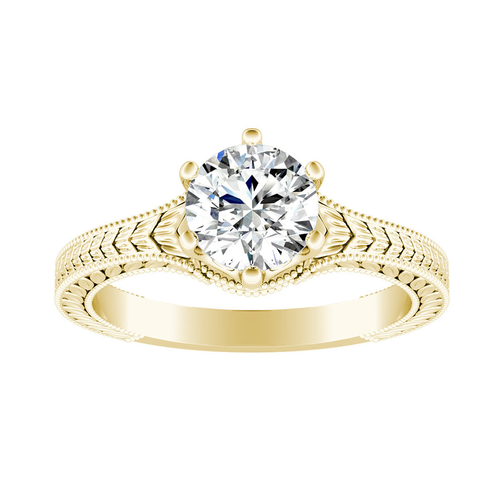 REAGAN Solitaire Moissanite Engagement Ring In 14K Yellow Gold With 0.50 Carat Round Stone
