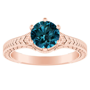 REAGAN  Solitaire  Blue  Diamond  Engagement  Ring  In  14K  Rose  Gold  With  0.50  Carat  Round  Diamond