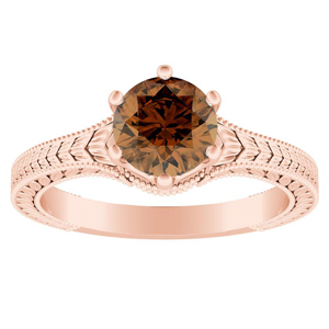 REAGAN  Solitaire  Brown  Diamond  Engagement  Ring  In  14K  Rose  Gold  With  0.50  Carat  Round  Diamond