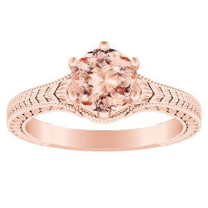 REAGAN Solitaire Morganite Engagement Ring In 14K Rose Gold With 4.00 Carat Round Stone
