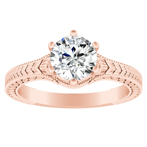 REAGAN  Solitaire  Moissanite  Engagement  Ring  In  14K  Rose  Gold  With  0.50  Carat  Round  Stone